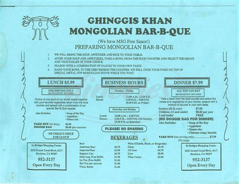 Ghinggis Khan Mongolian Bbq Menu Stockton Dineries Mongolian Buffet Prices