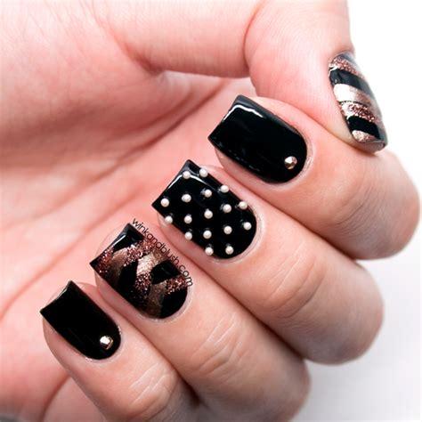 Kunst Nägel by Herringbone Nails Tutorial Gold Black Nail With