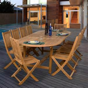 patio table sets folding outdoor:  person teak patio dining set with extension table and folding chairs