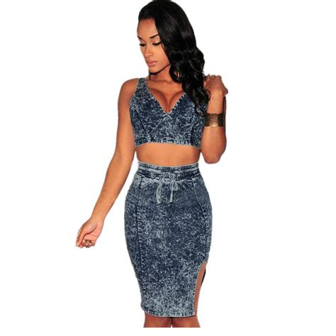 crop top and skirt set 2016 bodycon 2 sets tie dye denim skirt pencil