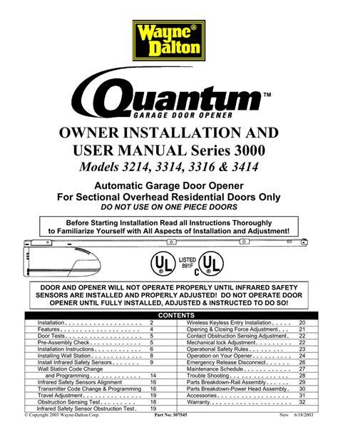 quantum  garage door opener user manual manualzzcom
