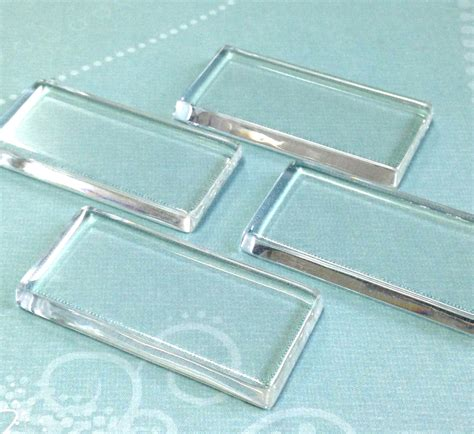 qty 10 clear glass rectangle tiles 24mm x 48mm pendant