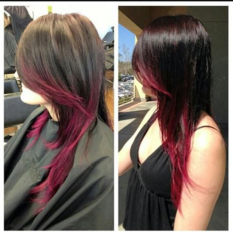 partial red highlights on dark brown hair hair by jenny jones dark hair fashion color pink red