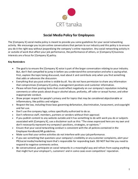 social media policy template crt social media policy template for employees