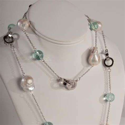 The Baroque Frame Necklace Versailles On A Chain by Ring Silver Chain With Baroque Pearls Aquamarine
