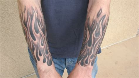 Black And Grey Flame Tattoo Designs   black and grey flame half sleeve tattoo by steve anderson