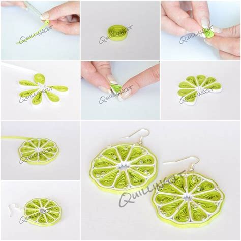 Steps To Make Paper Quilling - how to make quilled green lemon earrings step by step diy