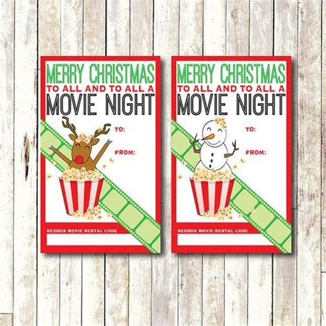 Redbox Movie Gift Cards - redbox gift card tag printable instant download movie night gift tag christmas