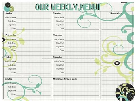 pretty printable meal planner 8 best images of cute printable menu planners free