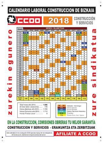 Calendario Laboral 2018 Vizcaya Comisiones Obreras Federaci 243 N De Construcci 243 N Y