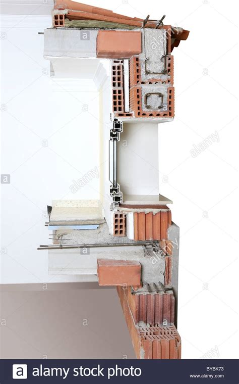 facade wall cross section of brick blocks window structure