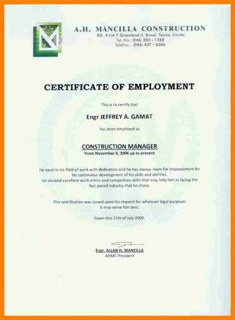 5 certificate of employment sle nanny resumed