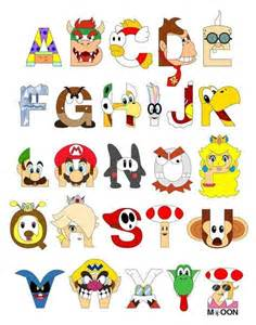 Character Letter Symbols Mario Characters As Alphabet Letters Drawings Writing Designs A Alphabet