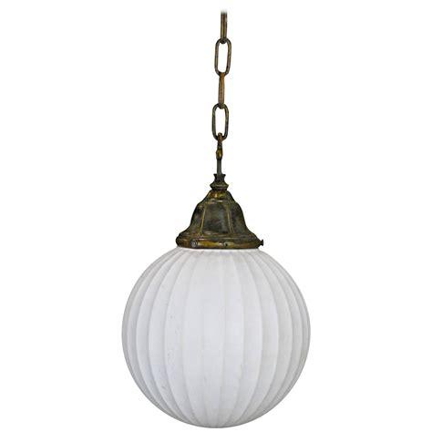 Milk Glass Pendant Light 1920 Reeded Milk Glass Brass Pendant Light At 1stdibs