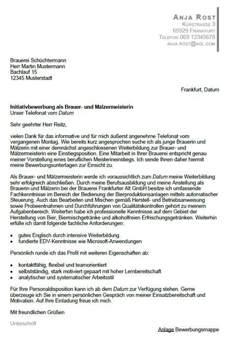 Initiativbewerbung Anschreiben Kfz Meister bewerbung brauer m 228 lzer meister berufseinsteiger