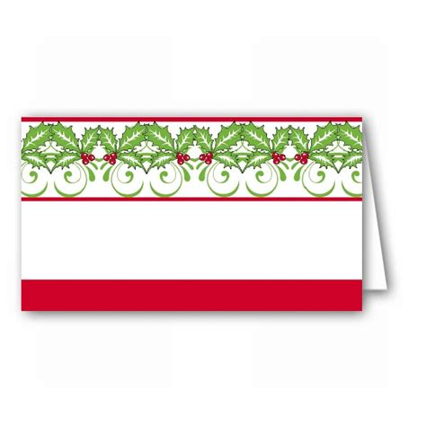 hollyberry stripe christmas place cards paperstyle
