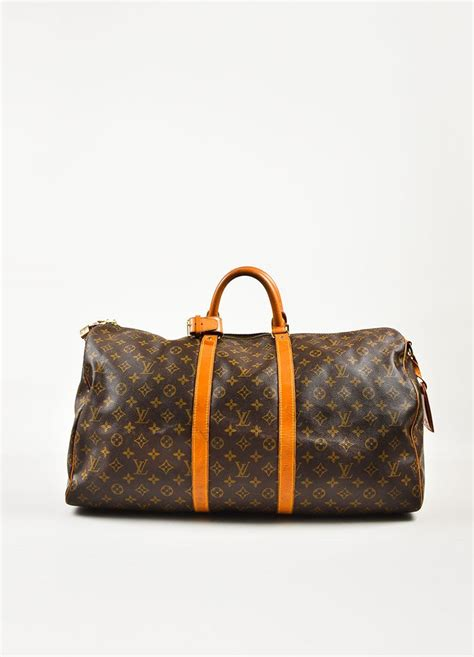louis vuitton brown coated canvas monogram keepall