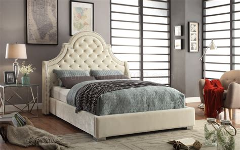 madison upholstered bed  cream velvet fabric woptions