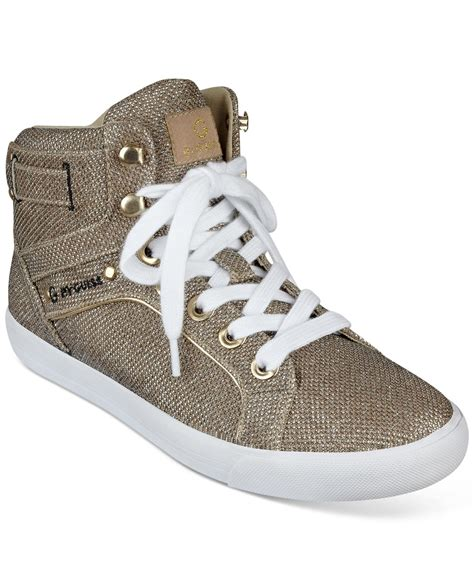 guess high top sneakers g by guess opall high top sneakers in metallic lyst