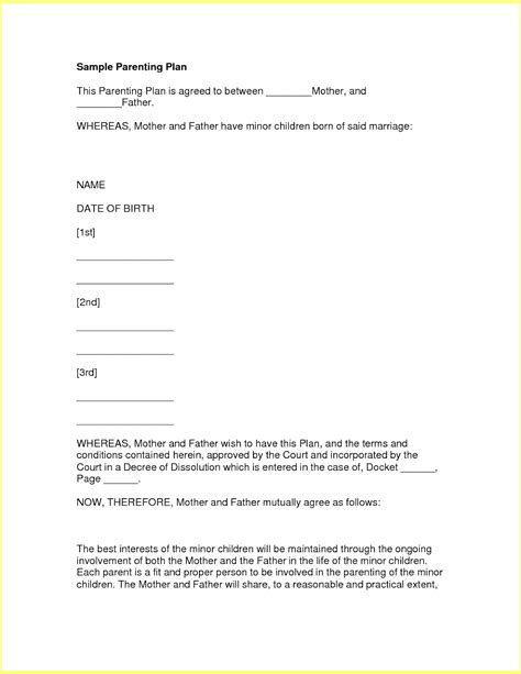 co parenting agreement template fresh gallery of shared custody agreement business cards