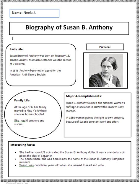 biography information for elementary students biography research finished exle writer s workshop