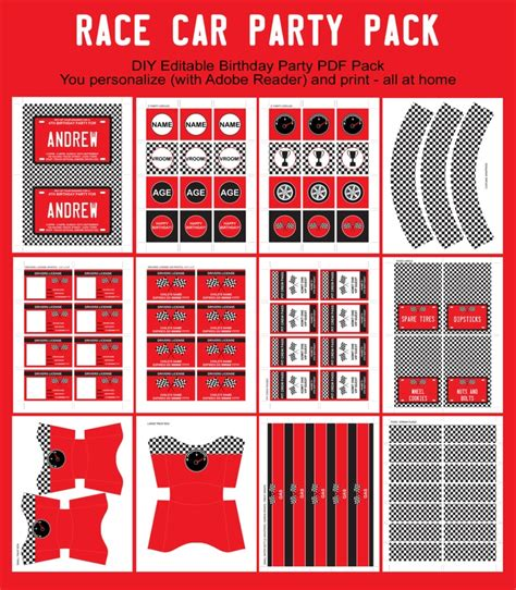 printable race car party decorations printables invitations templates sles onesie baby