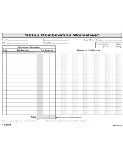 smed template smed changeover setup combination worksheet