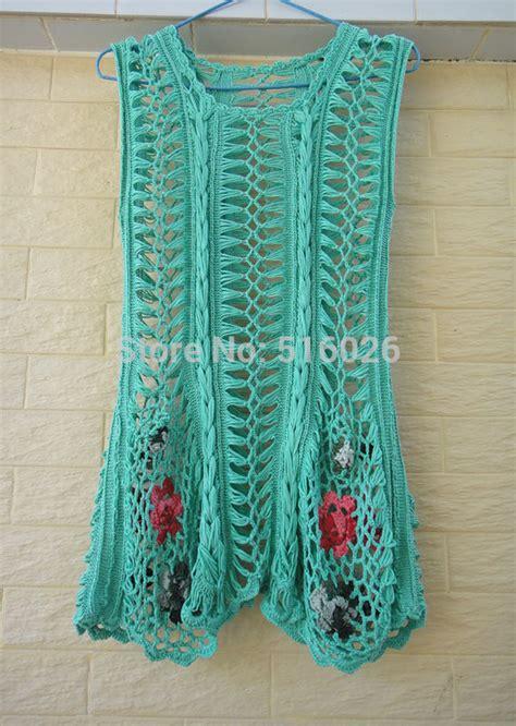 Handmade Crochet Clothing - handmade crochet boho mini dress tunic flower dress