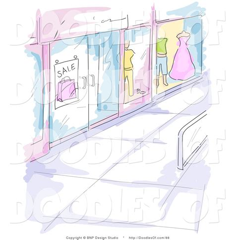 doodle shop vector clipart of a watercolor and sketched mall window