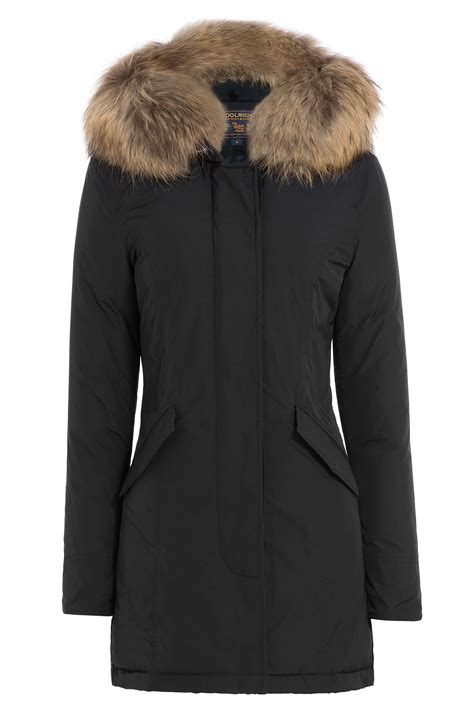 Lyst - Woolrich Down Jacket With Fur-trimmed Collar in Black Woolrich Park