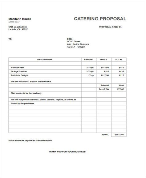 34 Sle Proposal Templates Free Premium Templates Catering Rfp Template