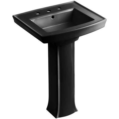 bathroom sink combo kohler devonshire vitreous china pedestal combo bathroom sink in black with overflow