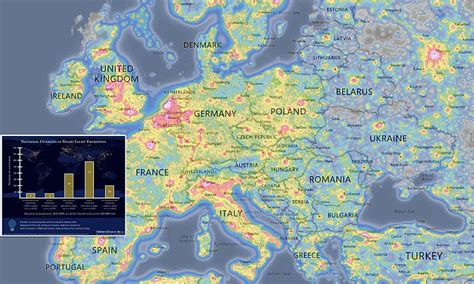 light pollution map earth map reveals light pollution across earth