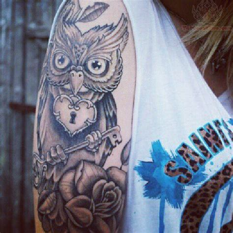 owl tattoo with lock and key meaning owl skeleton key tattoo