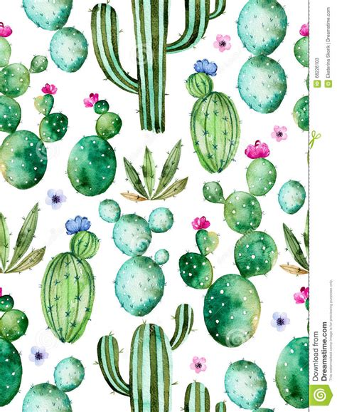 pastel cactus pattern seamless pattern with high quality hand painted watercolor