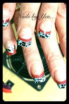 black and red love pattern fake nails japanese cute false black french manicure with glitter love for halloween
