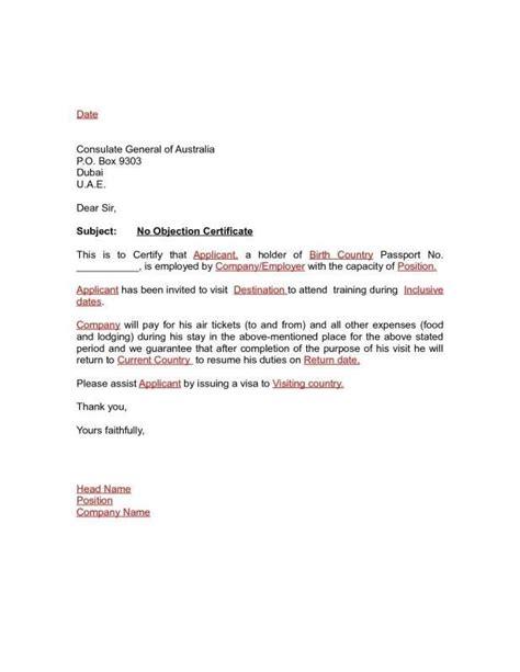 noc letter format employer noc letter format
