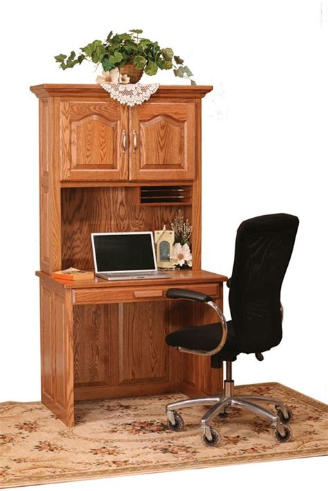 Flat Top Computer Desk With Hutch Top From Dutchcrafters Amish