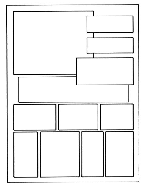 comic book panel template layout on 8 1 x 11 6th grade projects