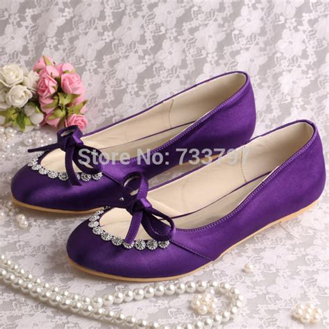 purple flat wedding shoes get cheap purple satin flats aliexpress
