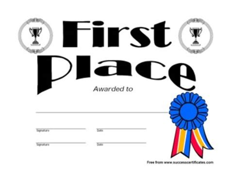 1st place certificate template 1st place certificate template place award 1 success