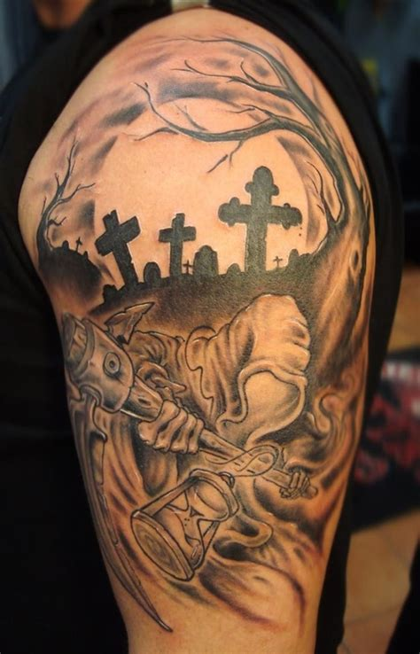 cemetery tattoos 25 amazing graveyard and cemetery tattoos