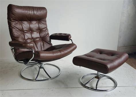 brown leather ekornes stressless lounge  ottoman   stdibs