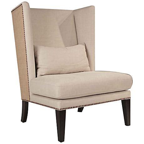 oatmeal linen wingback chair new wicker greco gray wicker and mahogany barstool set of