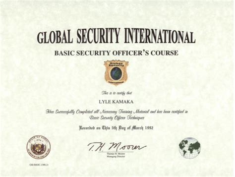certificate for security guard security guards companies