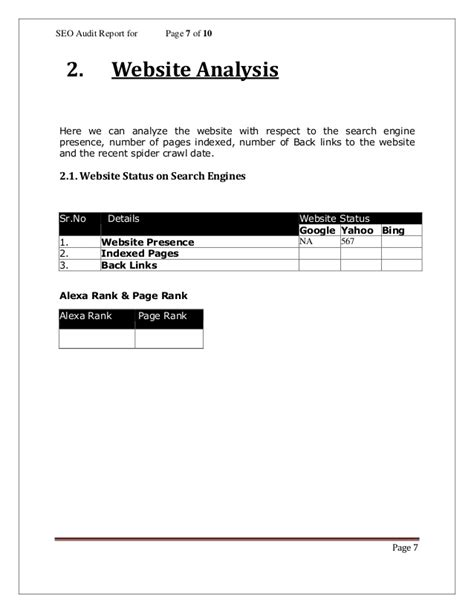 site analysis template seo analysis report template 1