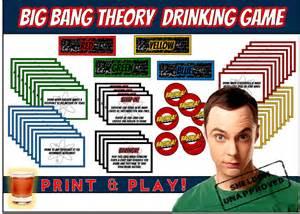 Big bang theory drinking game print amp play