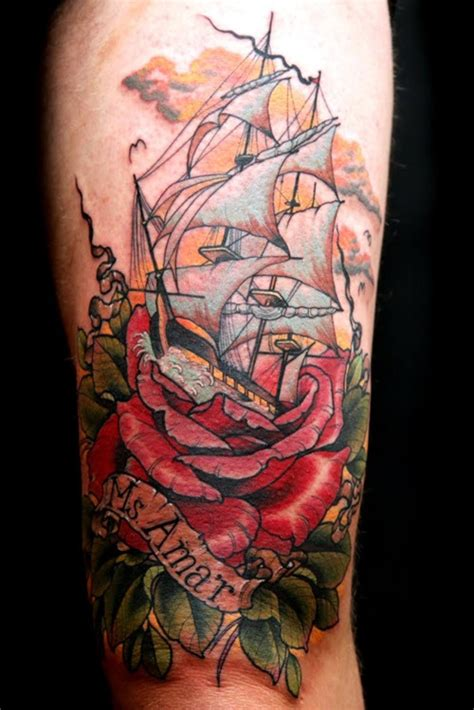 sinking ship tattoo flower tattoos with sinking ship tattoomagz