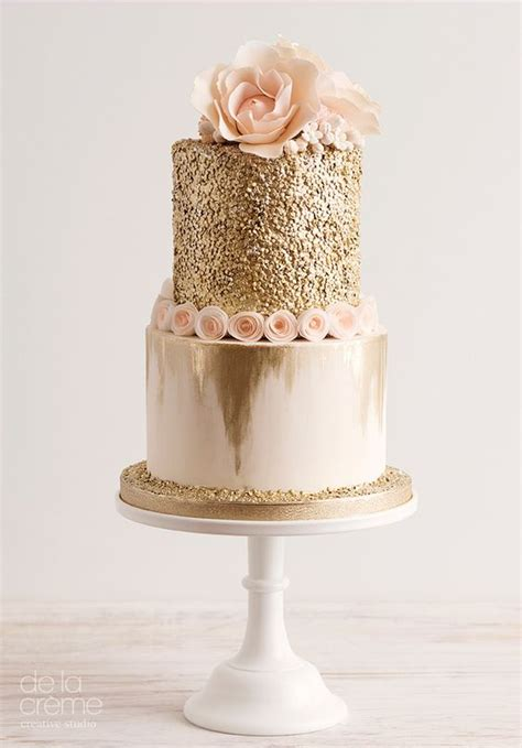Kitchen Tea Theme Ideas by Picture Of Gold Glitter Cake With Blush Flowers