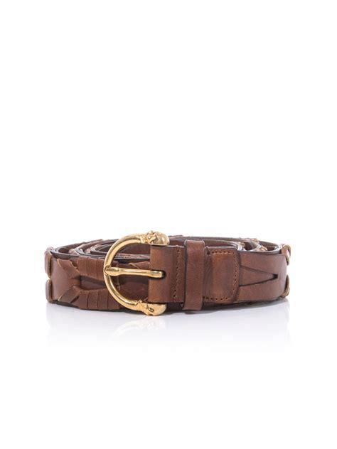 mcqueen skullbuckle braided leather belt in